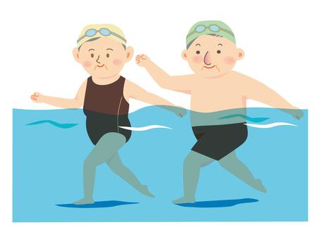 Walking in the pool Elderly people