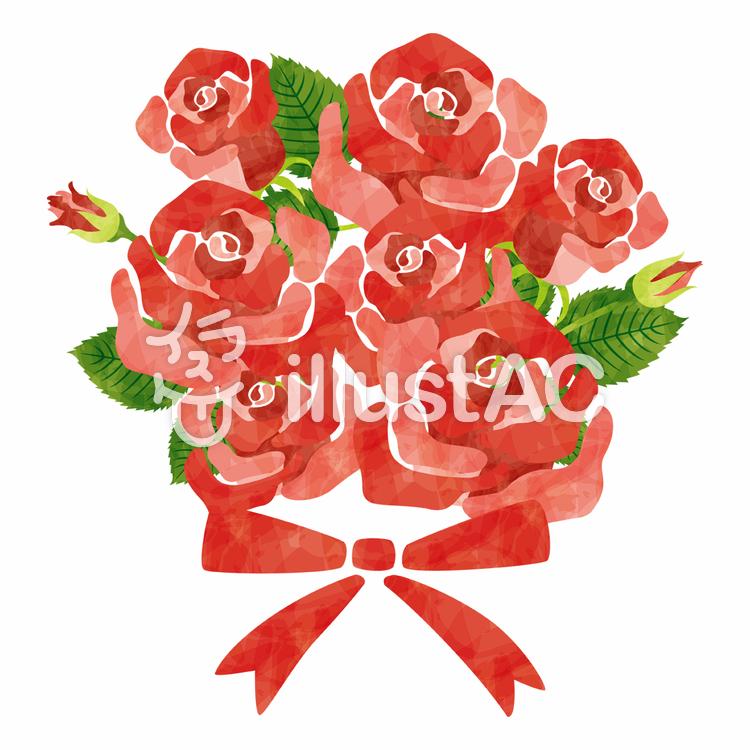 赤いバラ/花束のイラスト