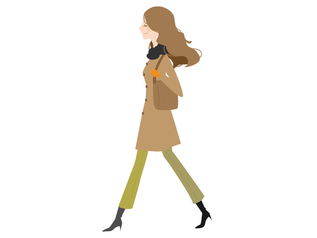 A walking coat woman