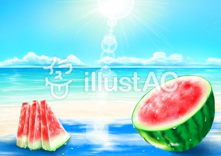 砂浜とスイカ