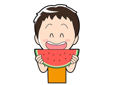 Summer _ boy eating watermelon _ 001