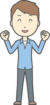 ブルー襟シャツ男性-143-全身