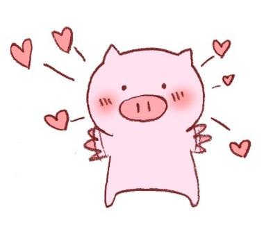 Pig illustration (heart)