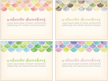 Watercolor touch colorful frame 4 color set