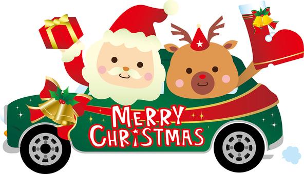 자동차 관계 방향 산타와 순록