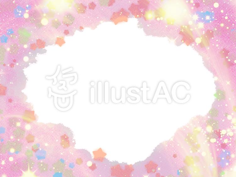 星の雲ゆめかわいい背景フレームピンクイラスト No 1023282無料