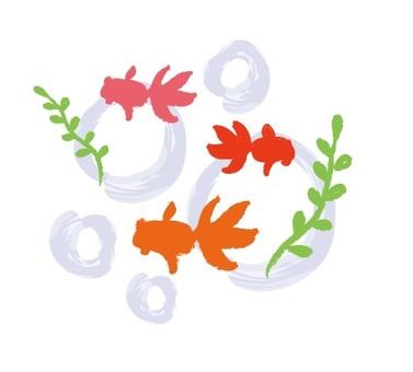 Hand-drawn wind goldfish