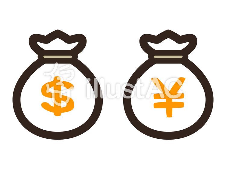 お金の袋可愛いドルと円マークイラスト No 374438無料イラストなら