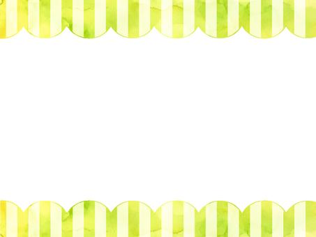 Watercolor stripe frame 2 green