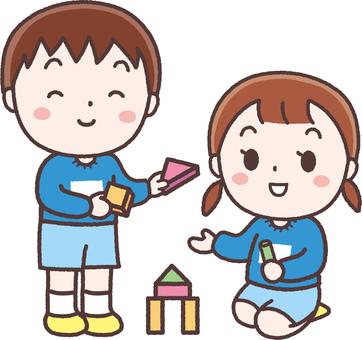 Children playing building blocks