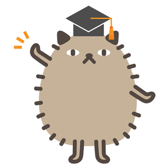 Illustration of a cat wearing a mortar board