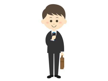A salaryman who checks a smartphone