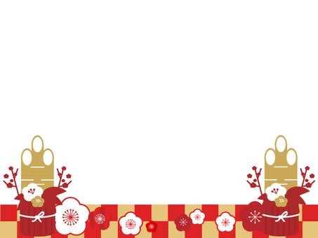 Plum blossoms and decorative frames of Kadomatsu