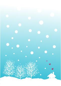 Winter scene in cold winter scene