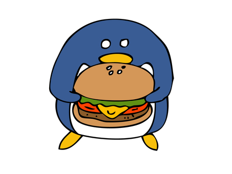 Penguin eating hamburger