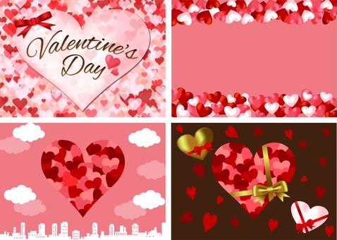 Valentine background set of hearts