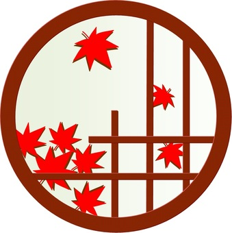 Illustration of a round window with autumn leaves visible