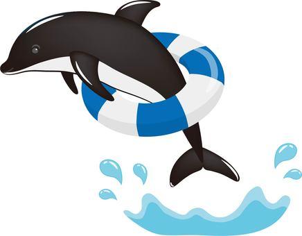 Dolphin float circle black