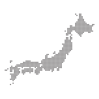 Japan Map Dot Black and White