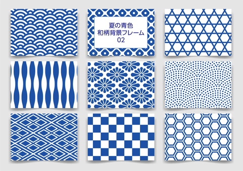 Summer blue Japanese pattern background frame pattern 02