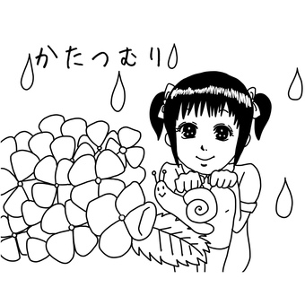 Snail and girl's coloring page