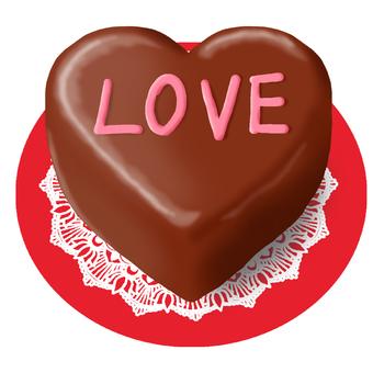 Heart's chocolate cake