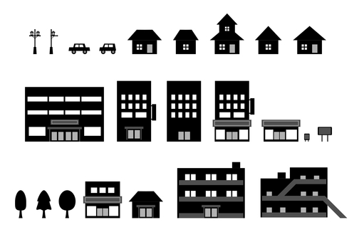 Building icon set silhouette illustration