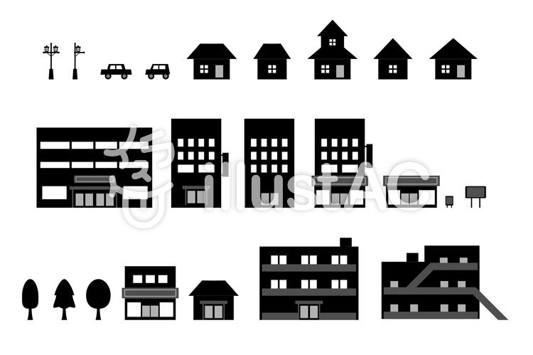 建物アイコンセット シルエット イラストのイラスト