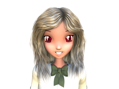 Smile of animated face blond hair school girl