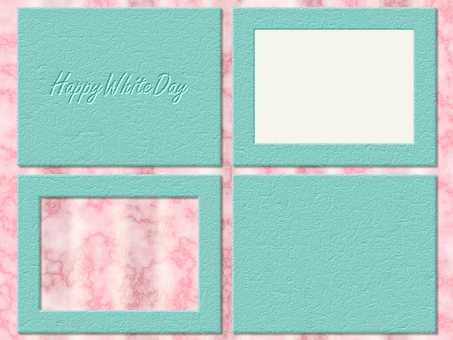 White Day Card Leather Mint Leather