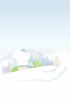 横書きの喪中はがき 雪景色01