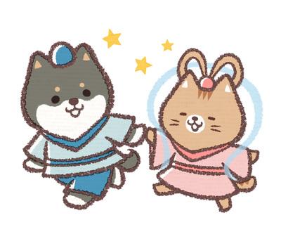 칠석 검은 시바 개 고양이
