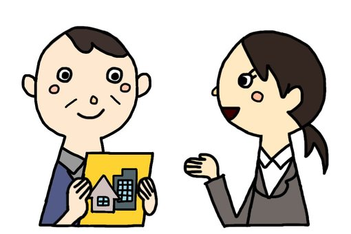 Female insurance salesman and middle-aged man