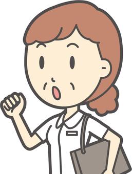 中年婦女護士白色外套-281胸圍