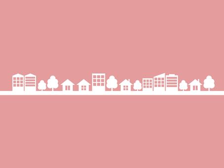 街 街並み シルエット ピンク