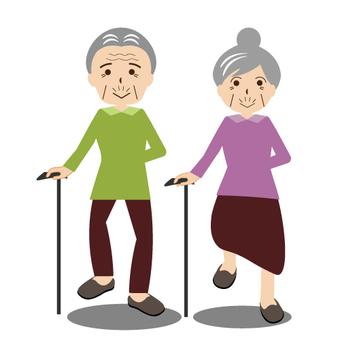 Elderly couple walking well with a cane