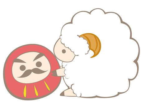 Sheep playing in Daruma