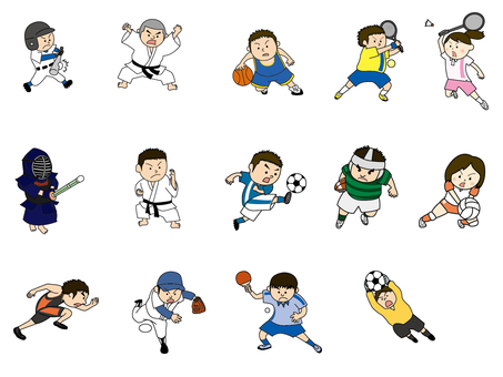 Sports figure illustration set