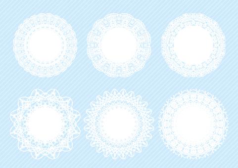 円形レースフレームセット青色背景