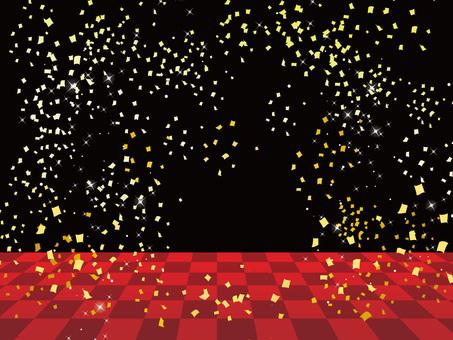 Ichimatsu Stage Black Red / Confetti