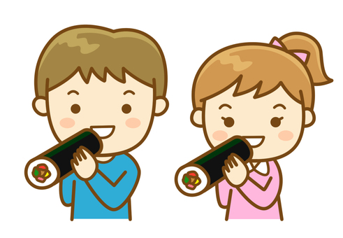 Children eating Ehomaki