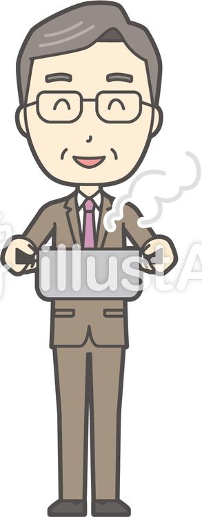 中年男性スーツ-305-全身のイラスト