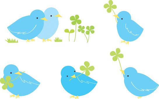 Four leaf clover and blue bird