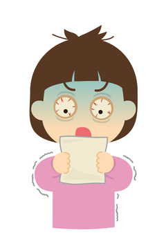 Illustration of a surprised woman looking at a paper [Invoice]