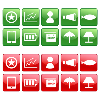 Icon set of people, megaphone, smartphone etc