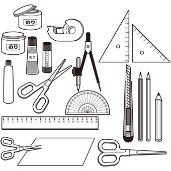 Various stationery (monochrome)