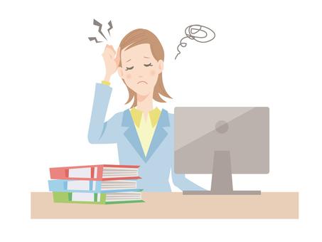 사무실에서 일하는 여성 _ 직장에서 스트레스