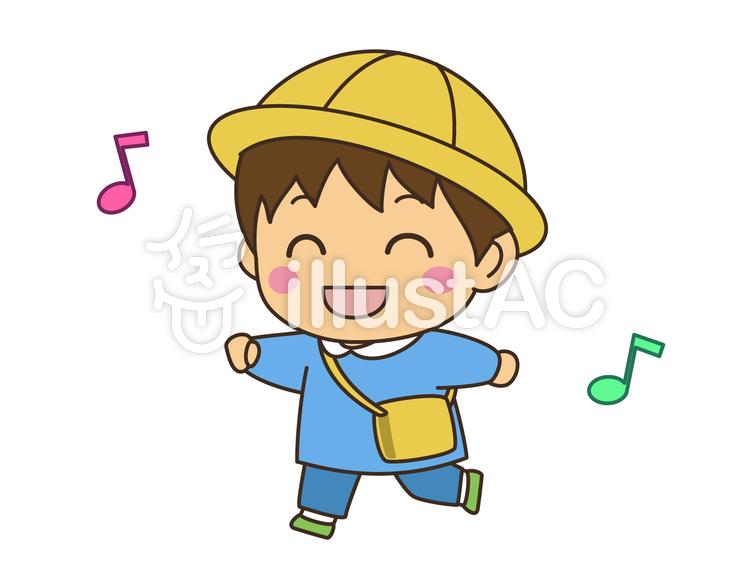 幼稚園児男の子走りニコニコイラスト No 1011093無料イラスト