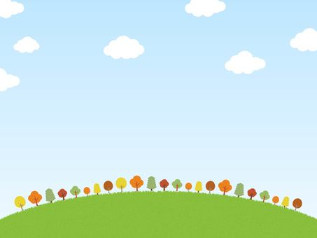 Autumn leaves trees and grass, sky and cloud background illustration material