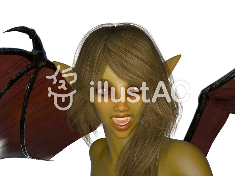 ハロウィーン:悪魔コスプレの美女の微笑みのイラスト
